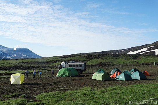 camp at the foot of volcano Gorely